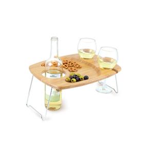 Mesavino Rectangular Wine Serving Tray with Glass & Bottle Slots