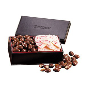 Chocolate Almonds & Peppermint Bark in Faux Leather Box
