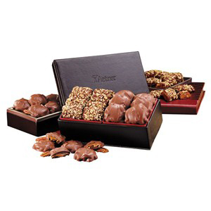 English Toffee & Pecan Turtles in Faux Leather Box
