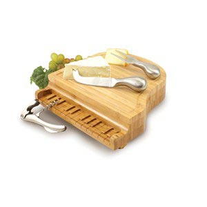 Piano Shaped Bamboo Cutting Board with 3 Wine & Cheese Tools