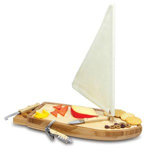 Sailboat Cutting Board & Cheese Tools Set