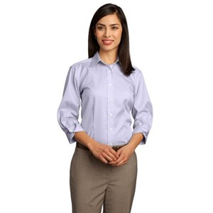 Ladies Dobby Non-Iron Button-Down Shirt