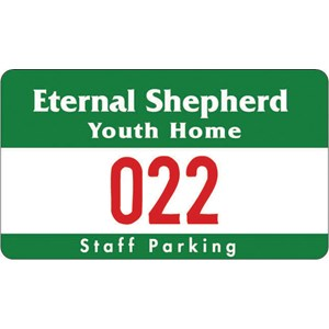 "Numbered Outside Parking Permit - 2 3/4"" x 4 3/4"""
