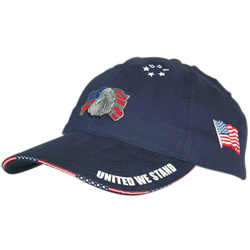 Brushed Cotton Hat with Woven Flag Sandwich Bill