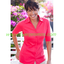 Port Authority Ladies Silk Touch Interlock Button-Front Sport Shirt
