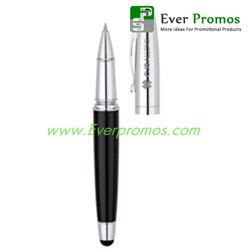High Gloss Black Rollerball Pen with Capacitive Stylus