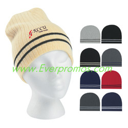 Knit Beanie With Double Stripe